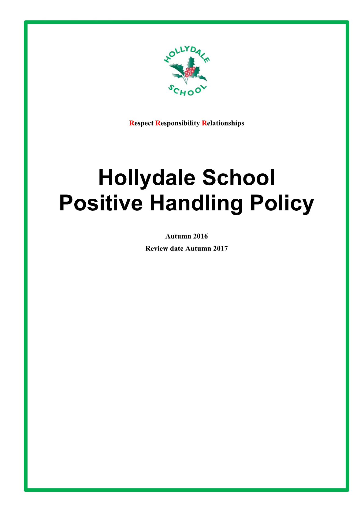 Positive Handling Policy
