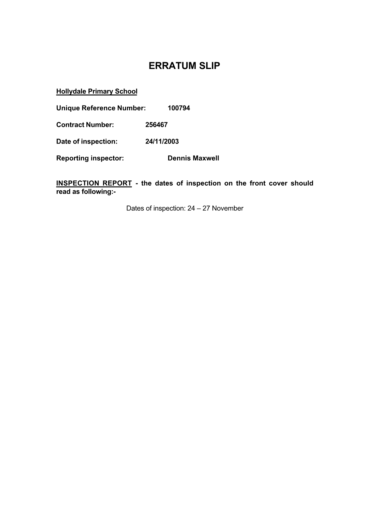 Inspection Report 2003