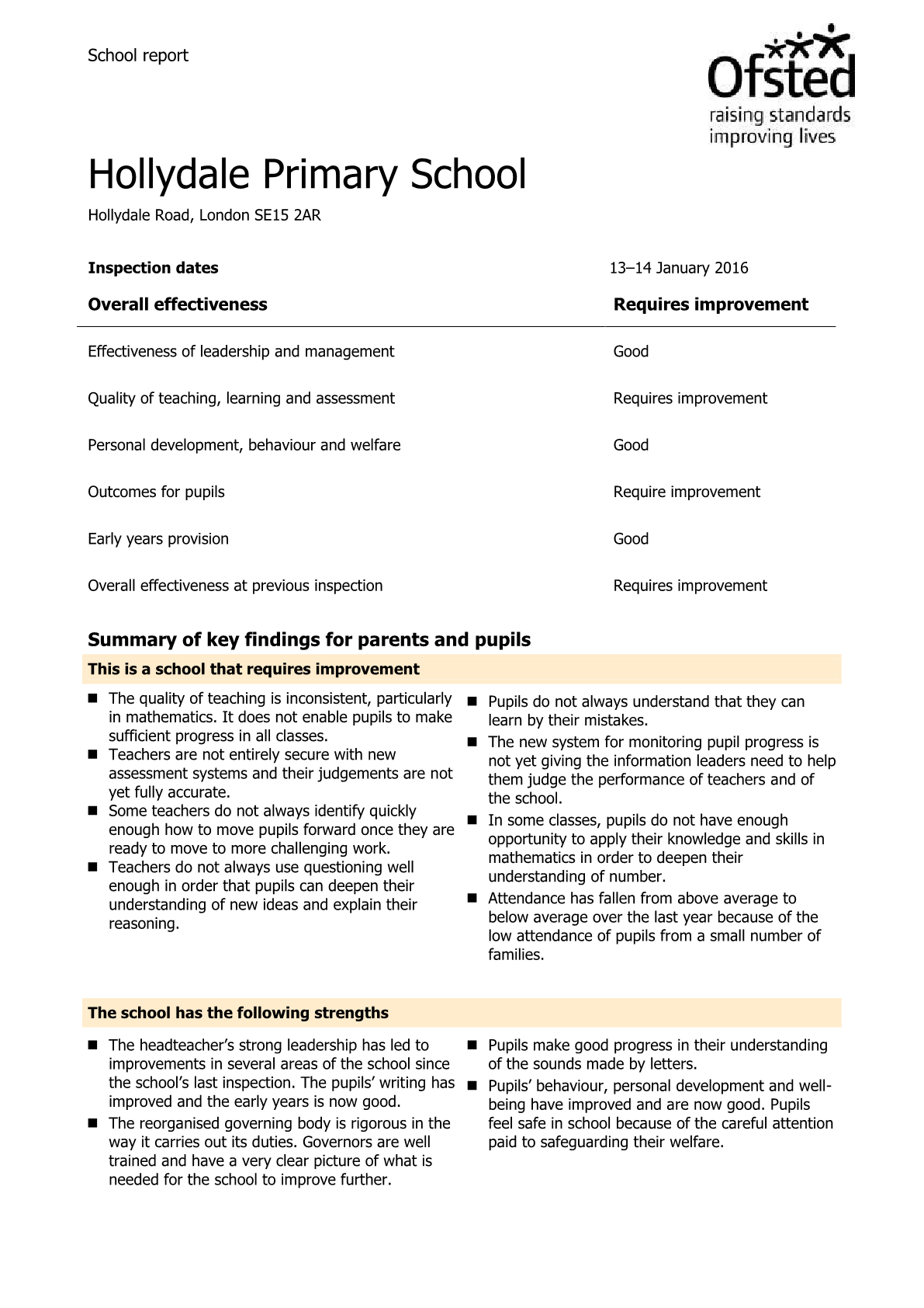 ofsted reports 2016
