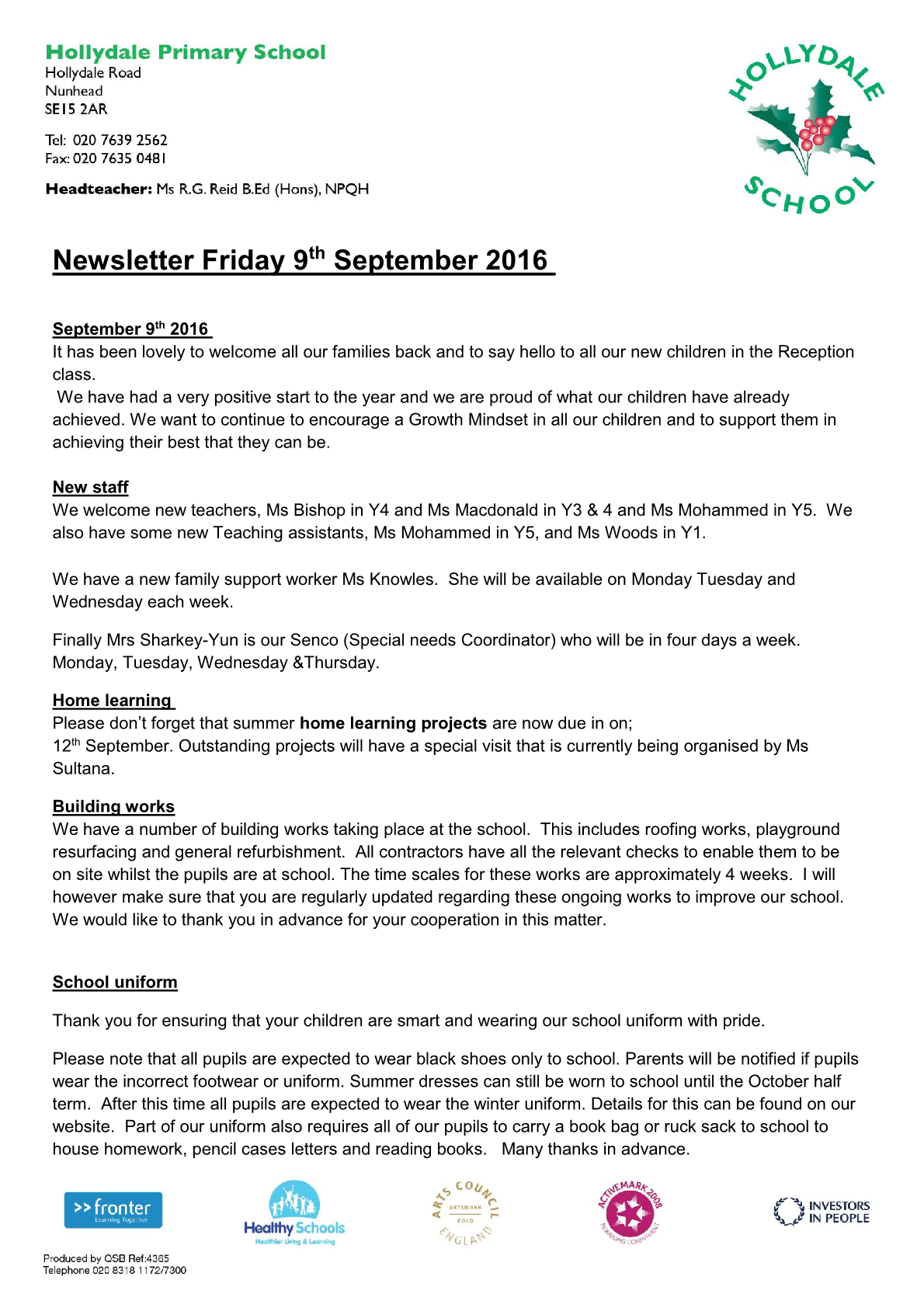 Newsletter 9th September 2016