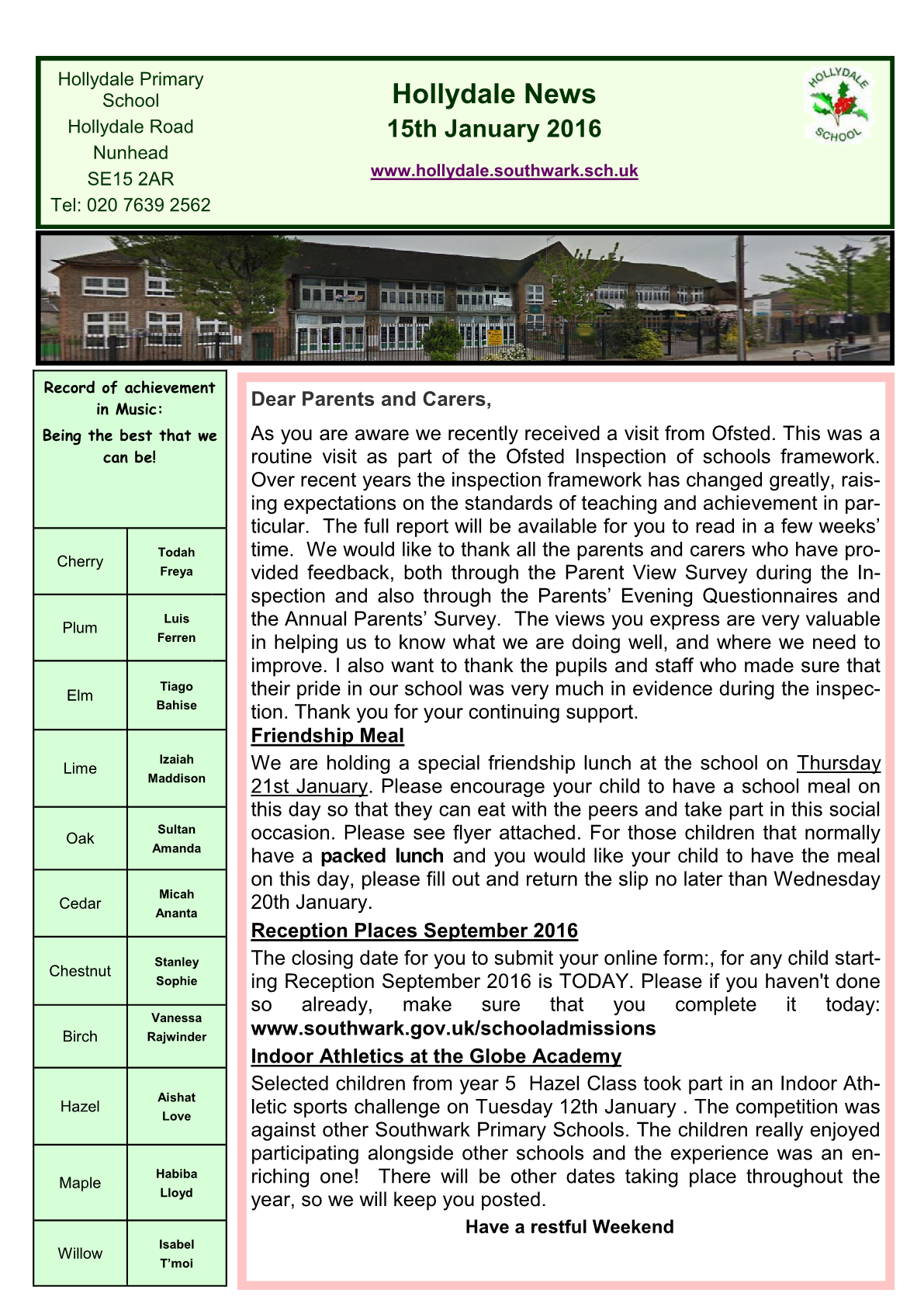 Newsletter 15th January 2016