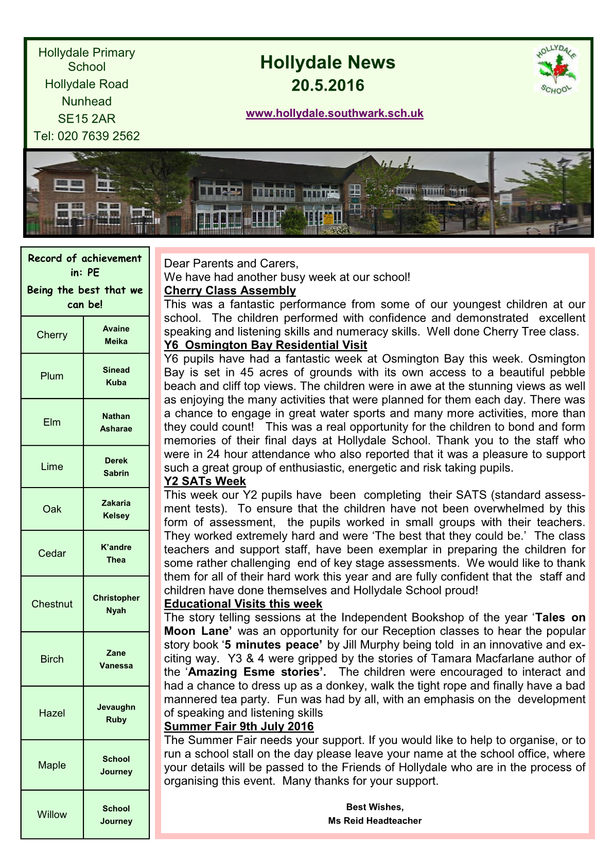 Newsletter 20th May 2016
