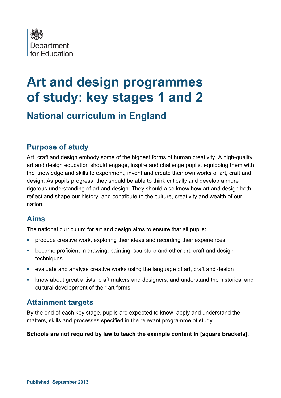 Primary National Curriculum - Creative Arts