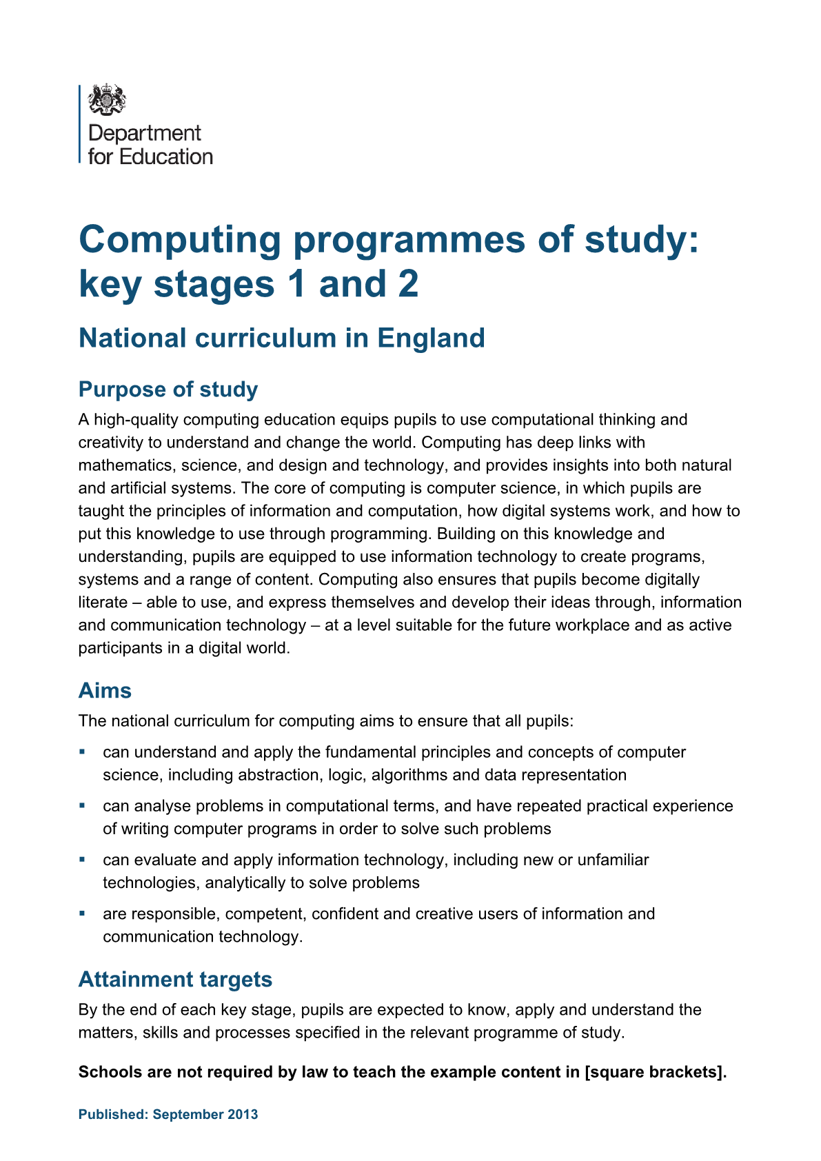 Primary National Curriculum - Computers