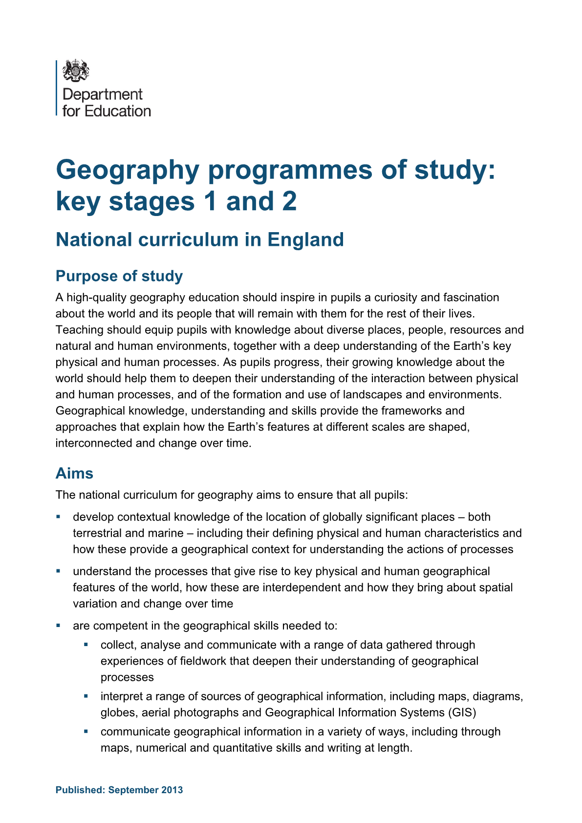Primary National Curriculum - Geography