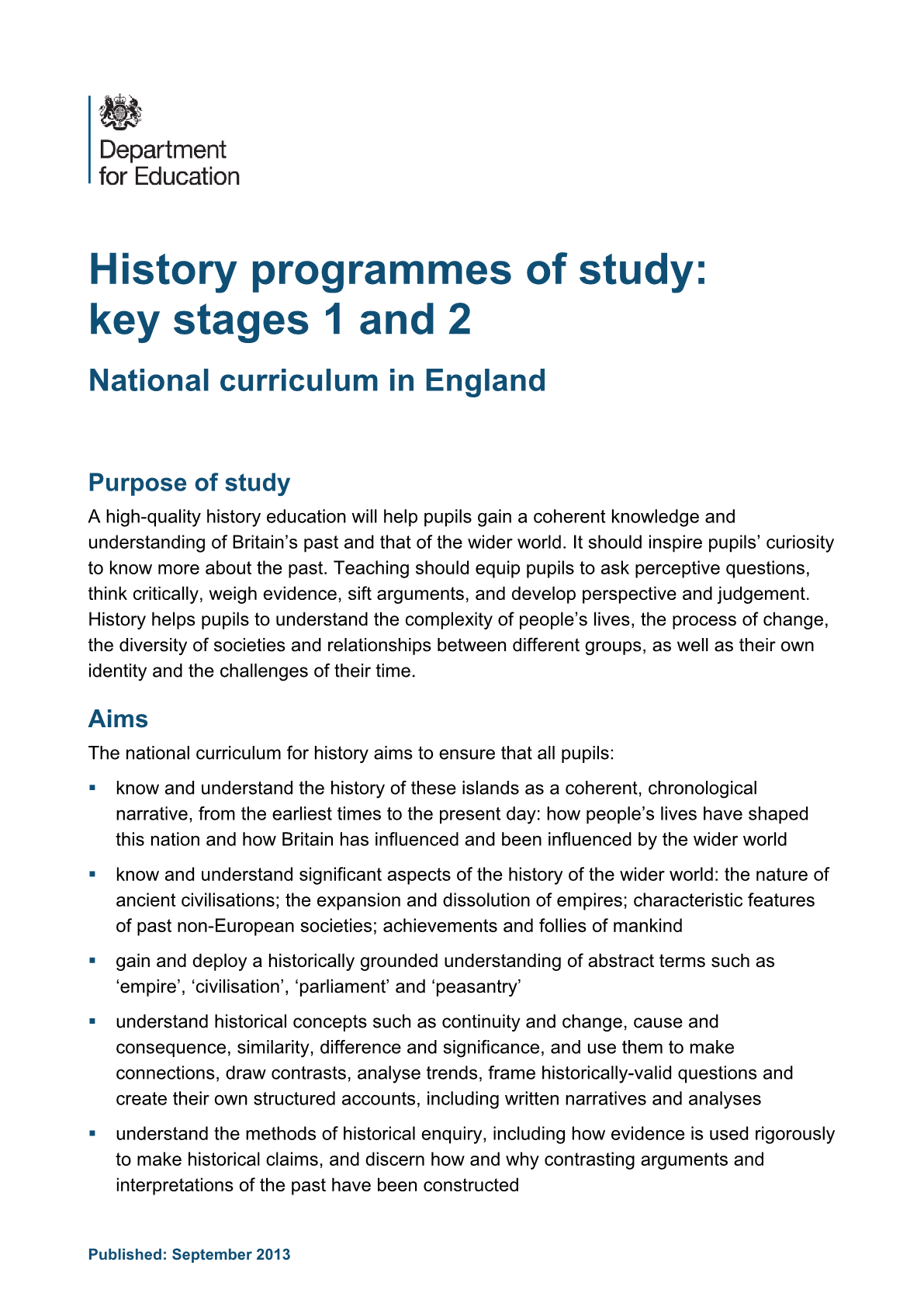 Primary National Curriculum - History
