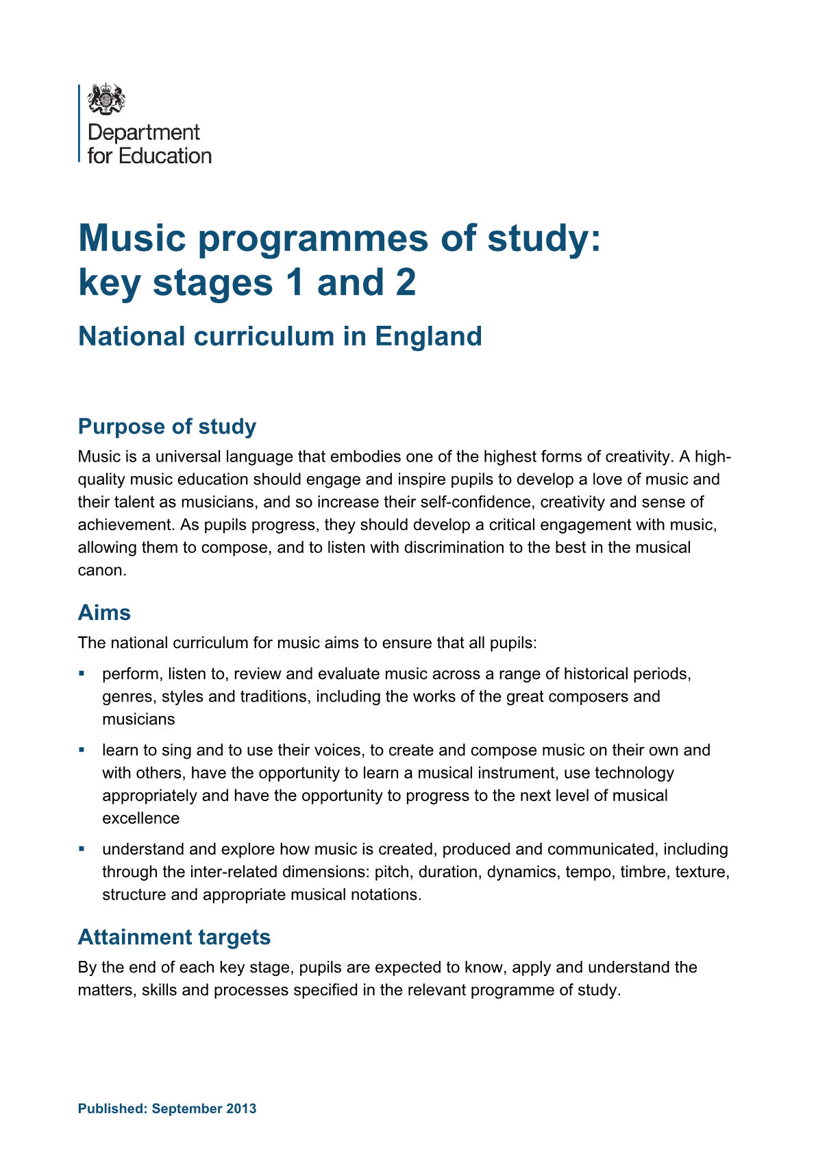 Primary National Curriculum - Performing Arts