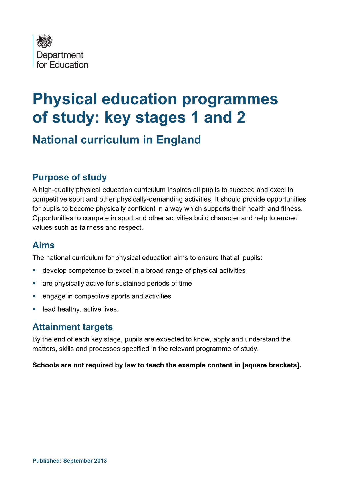 Primary National Curriculum - PE