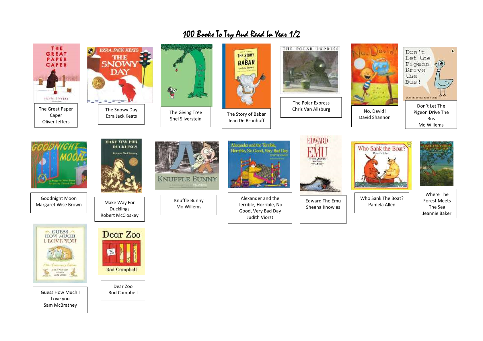 100 books to read by KS1 – Y1/2