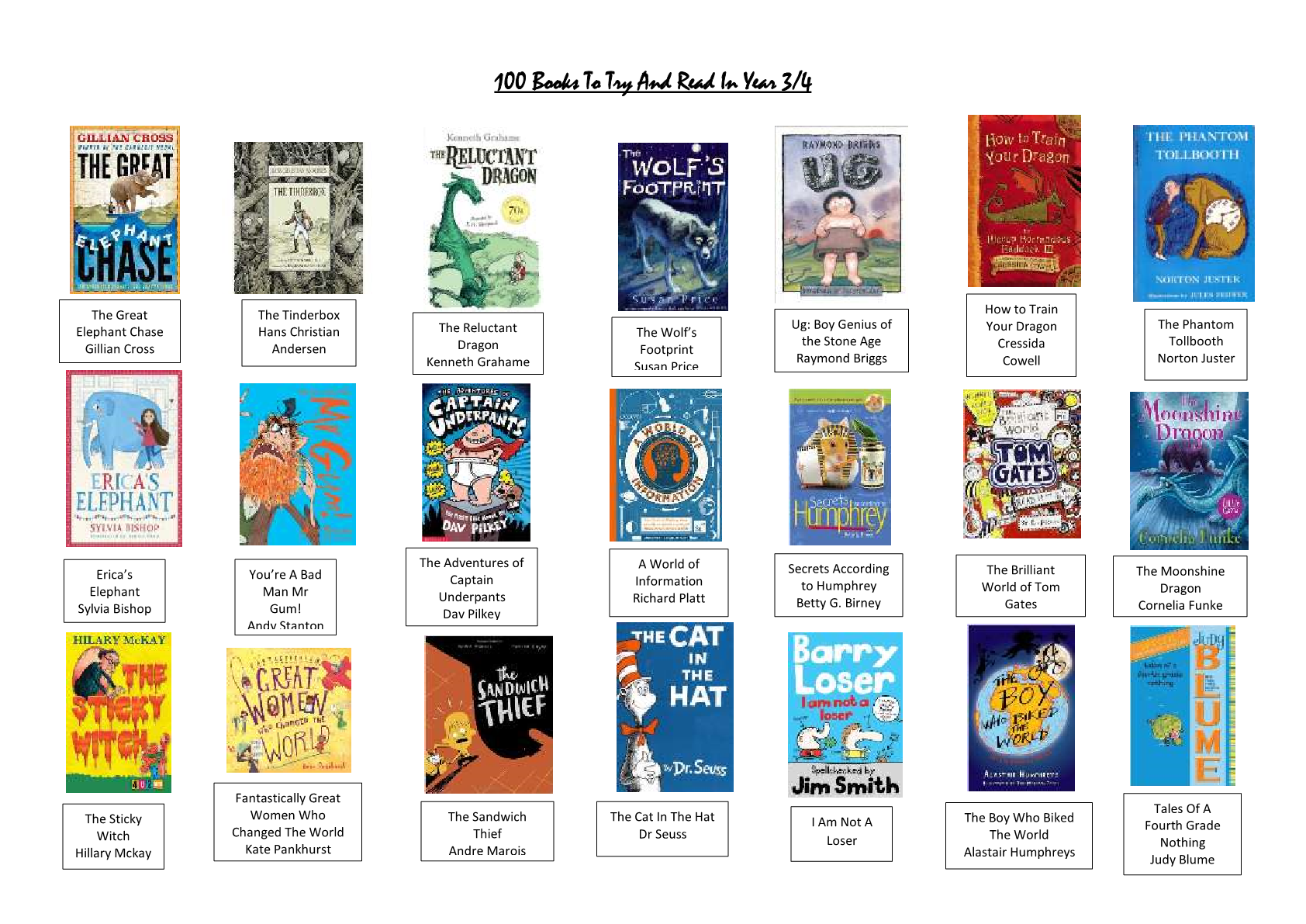 100 books to read by LKS2 – Y3/4