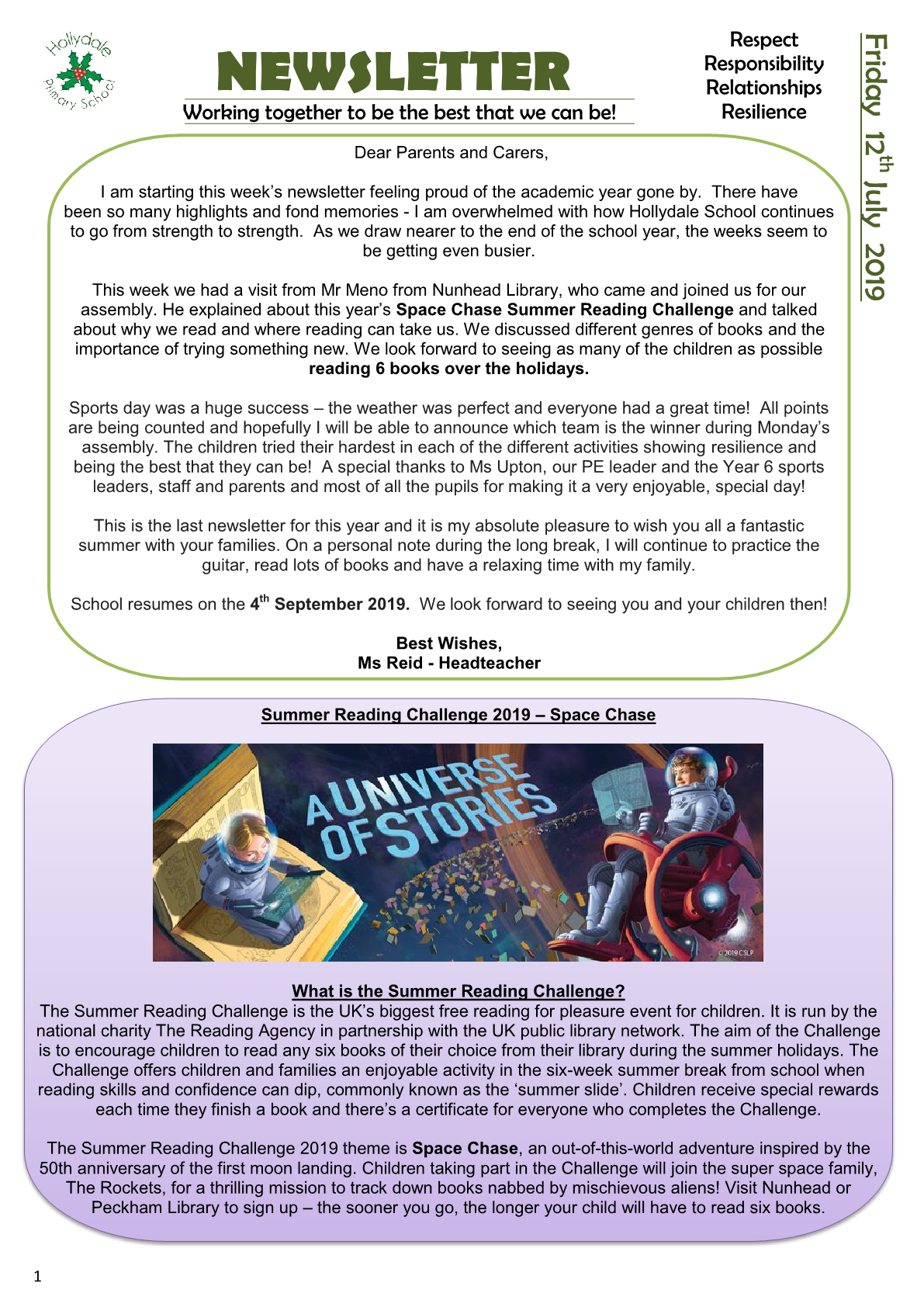 Newsletter 12th July 2019