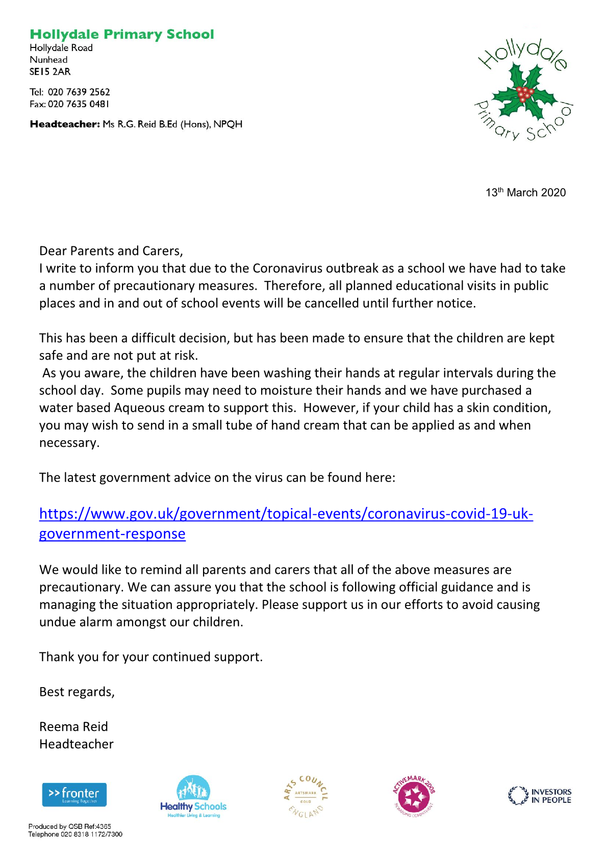 Coronavirus letter for parents 13th March 2020