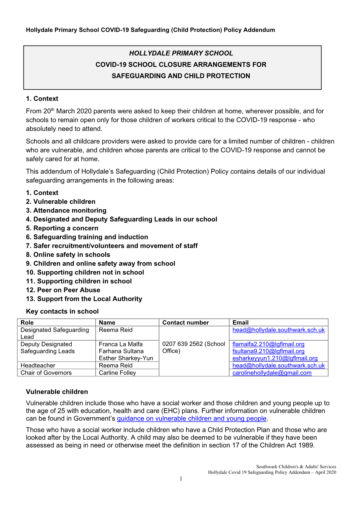 COVID-19 Safeguarding Policy