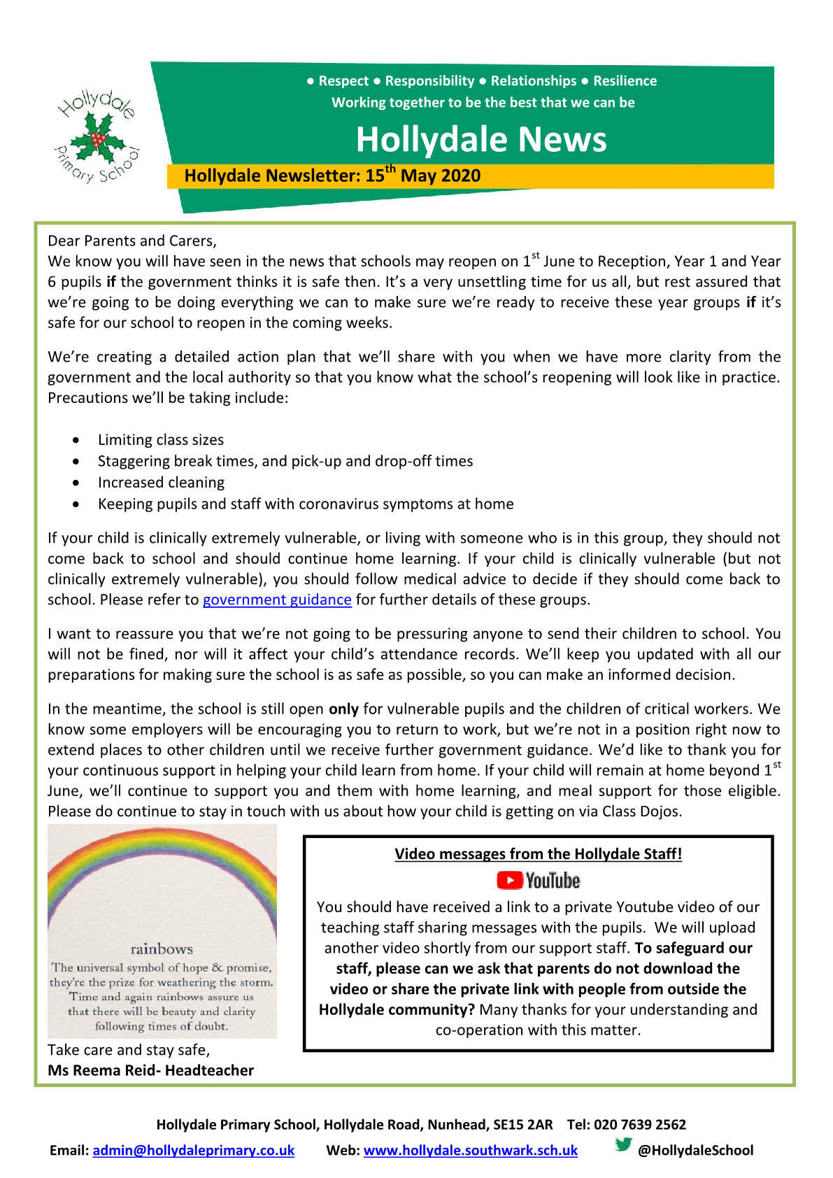 Newsletter 15th May 2020
