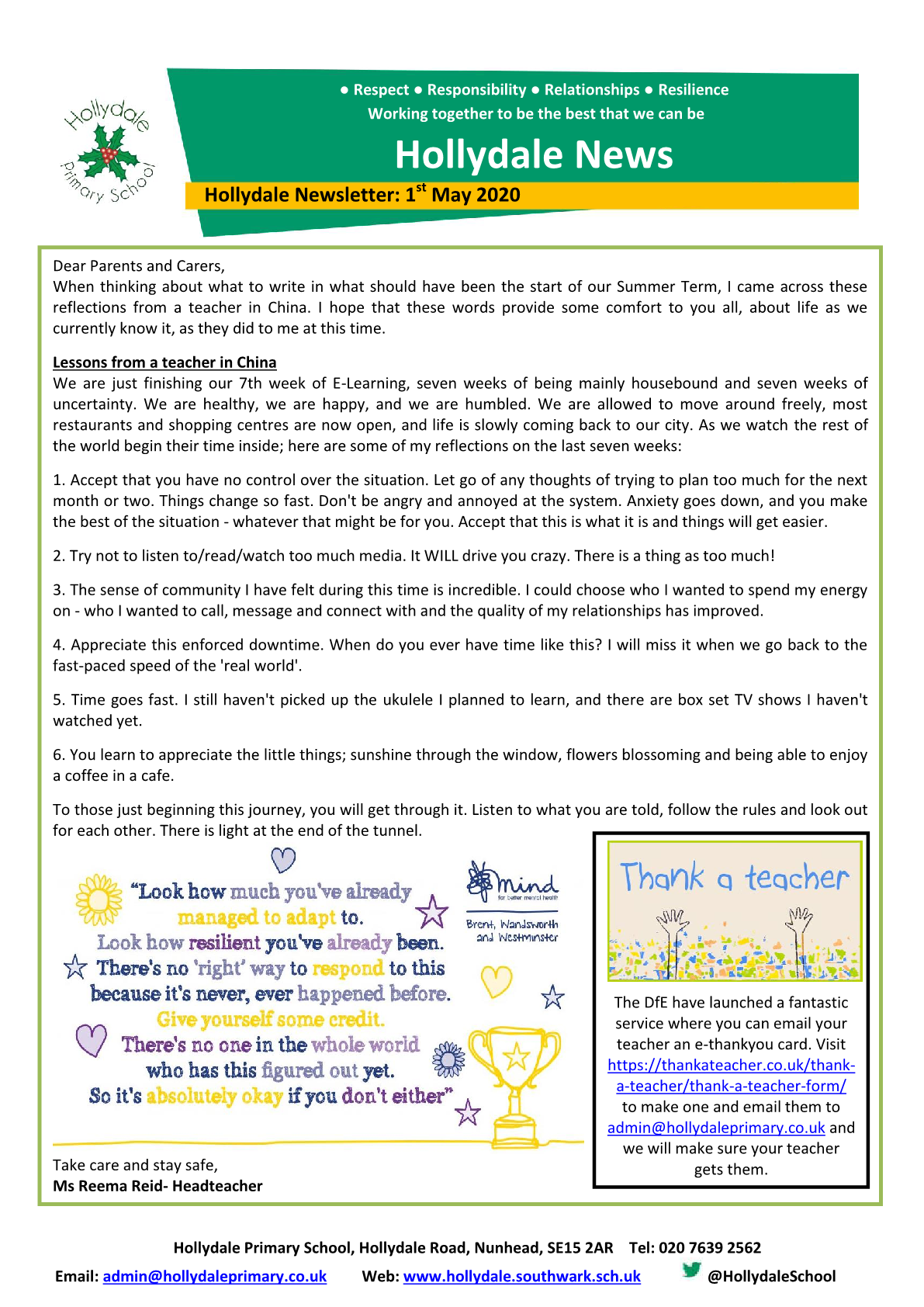 Newsletter 1st May 2020