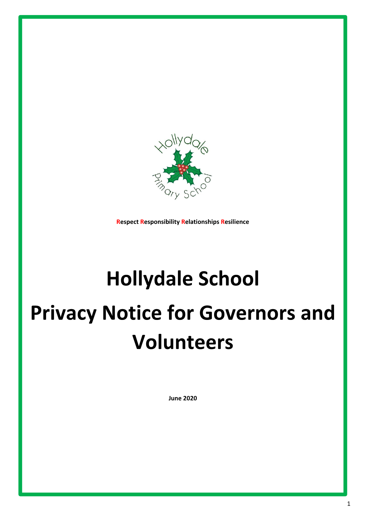 Privicy Notice Governors and Volunteers