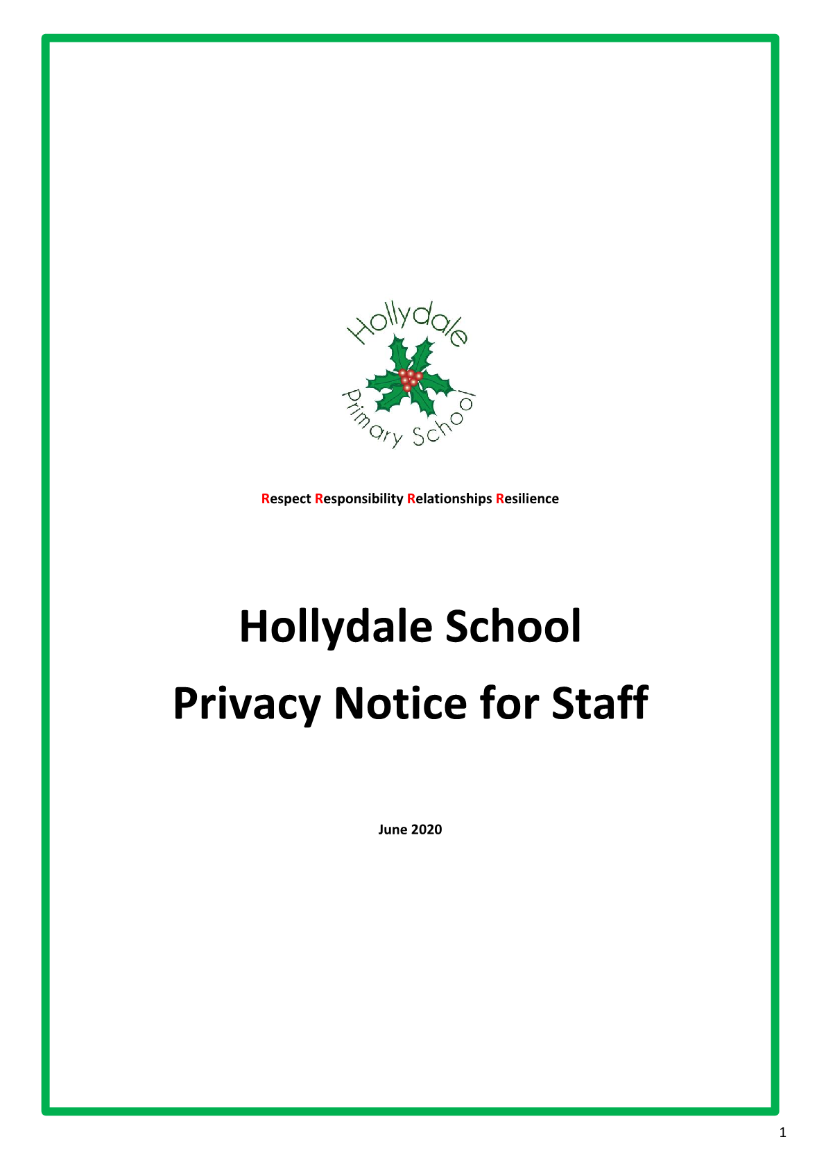 Privicy Notice for Staff