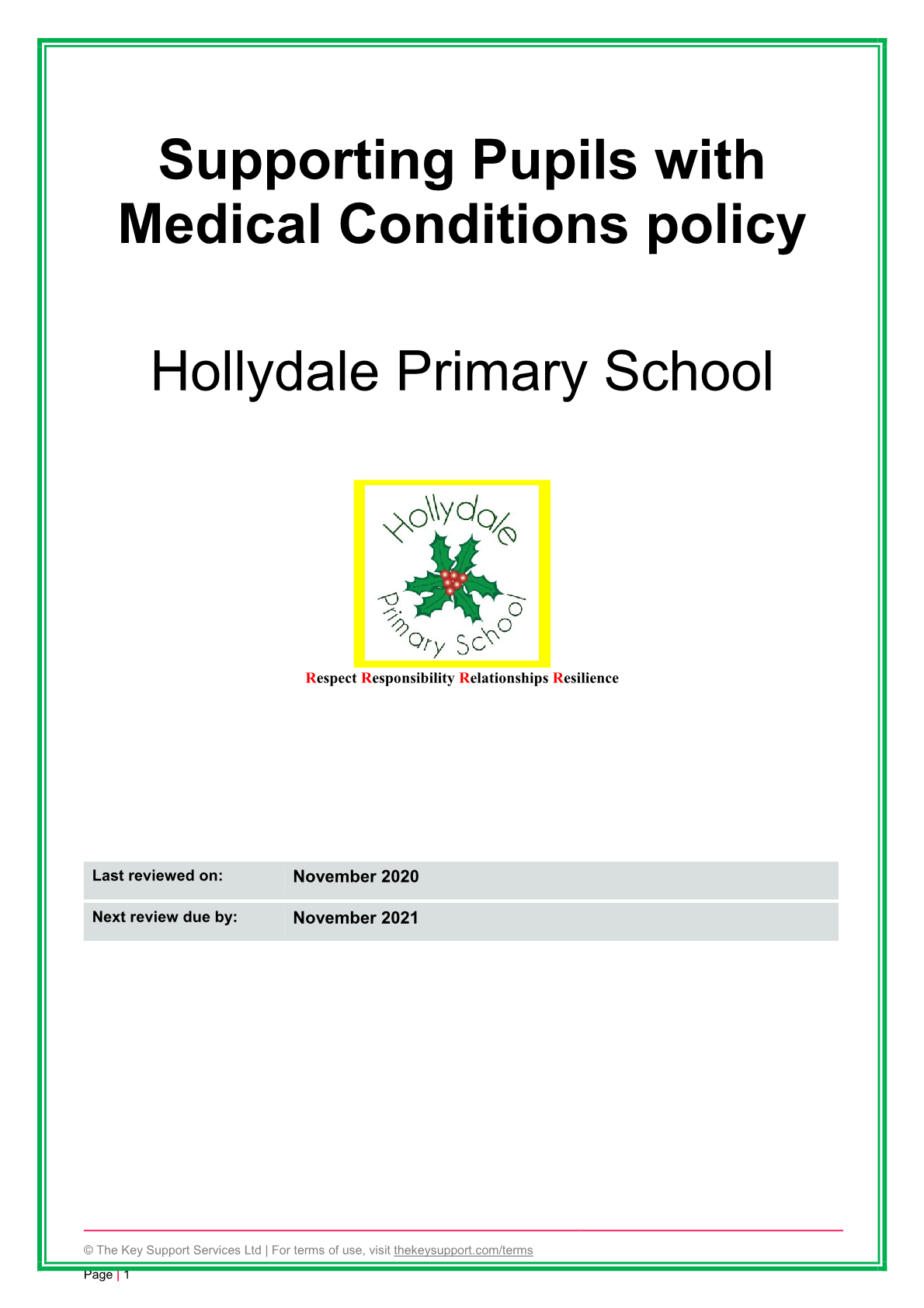 Medical Conditions Policy