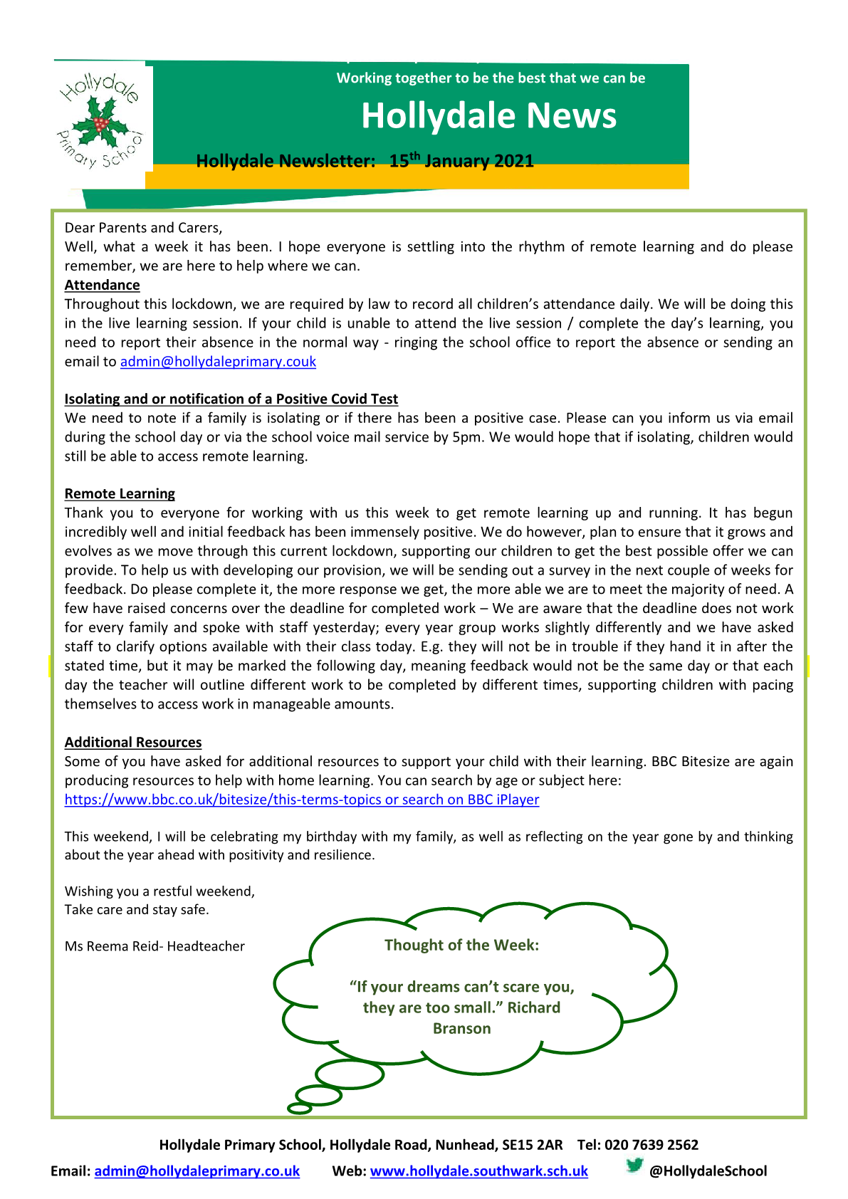 Newsletter 15th January 2021