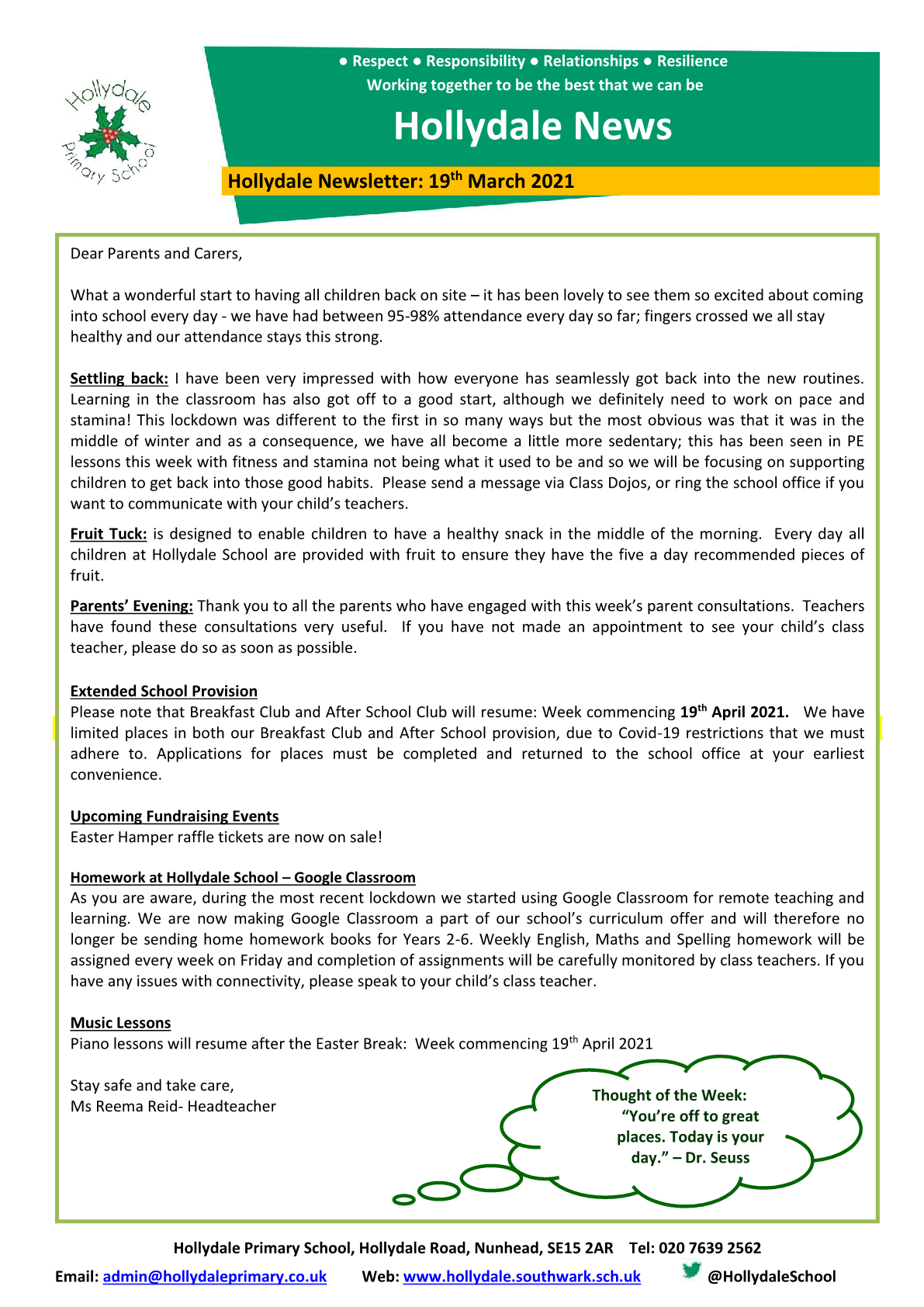 Newsletter 19th March 2021