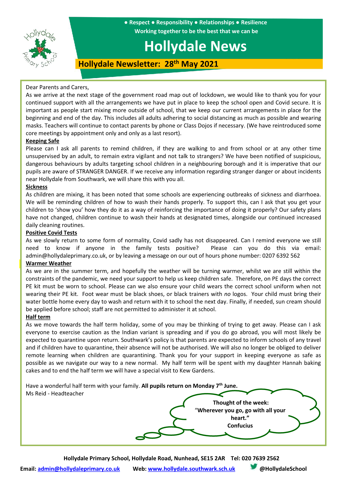 Newsletter 28th May 2021